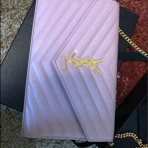YSL wallet on chain in pink brand new